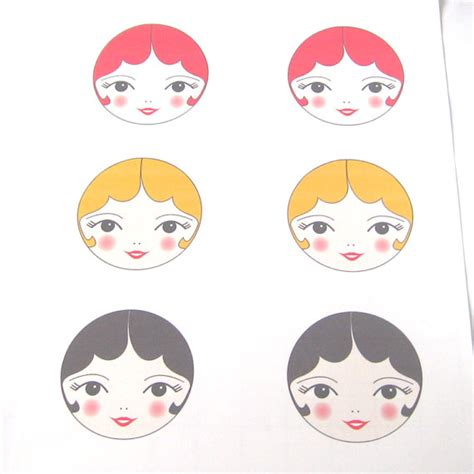 Printable Paper Doll Faces | pdf printable art doll face transfers iron on doll faces