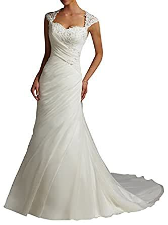 dapene womens lace sweetheart mermaid train bridal gown wedding dress amazoncom