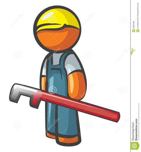 Plumbing Orange by Orange Plumber With Pipe Wrench Royalty Free Stock