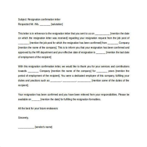 formal resignation letters templates ms