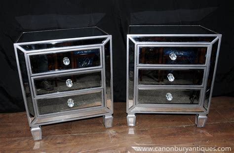 bedroom furniture nightstands pair mirrored bedside chests nightstands chest drawers