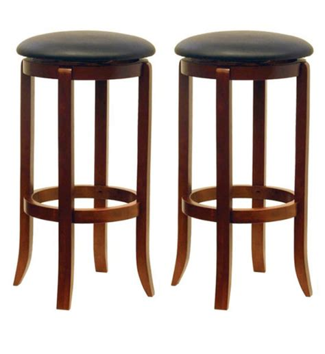 Bar Stools 30 Inch by 30 Inch Swivel Bar Stools Walnut Finish Set Of 2 In