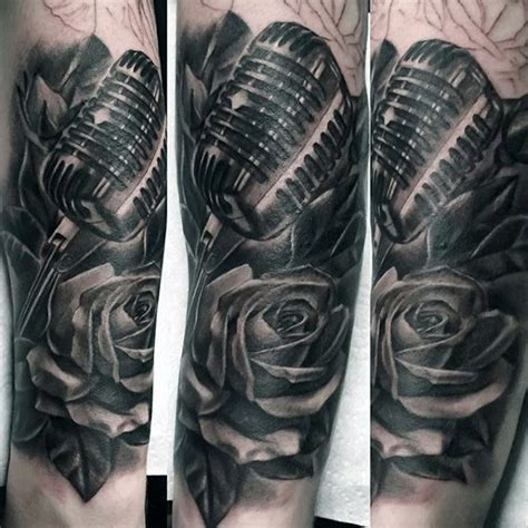 microphone flower tattoo big 3d like black and white microphone with flower tattoo
