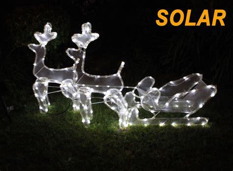 solar 3d led 2 reindeer sleigh 6 mode motif christmas