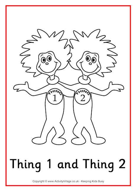 Thing One And Thing Two Coloring Pages thing 1 and thing 2 colouring page