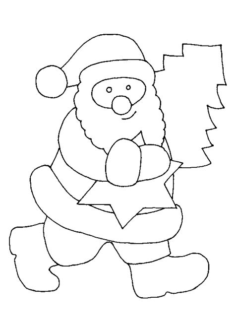 Coloriage du Père Noel avec Une etoile et sapin