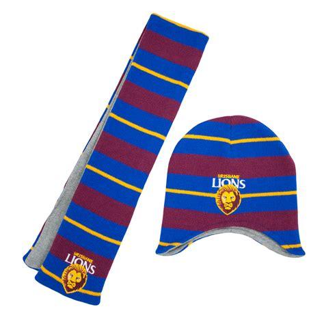 brisbane lions toddlers beanie scarf pack afl