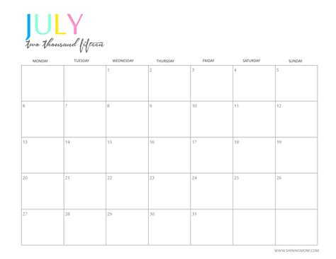 printable weekly calendar july 2015 july 2017 calendar cute 2017 calendar with holidays