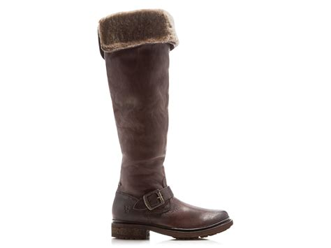 frye valerie shearling boots frye valerie shearling cuff the knee boots in brown