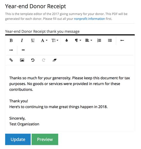 year end donation receipt template send year end tax receipts to all your donors nonprofit