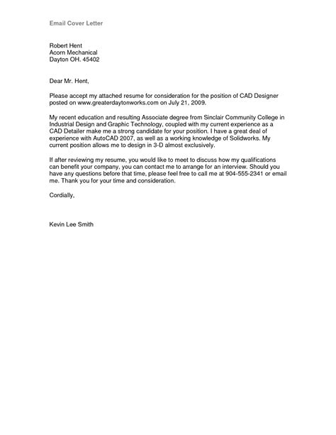 Cover Letter Email Exle by Cover Letter Format Email Best Template Collection