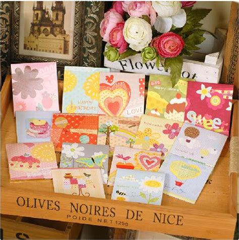 Small Handmade Greeting Cards - 16 sets of sweet pop up birthday cards for