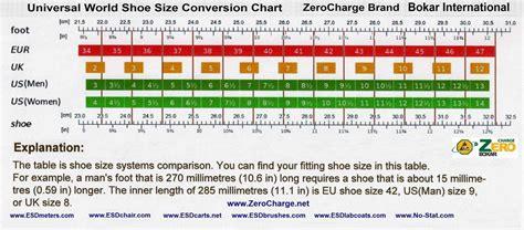 shoe size chart international quality esd shoes