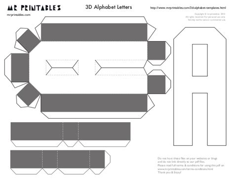 Mrprintables 3d Alphabet Templates A To M 3d Template Pdf