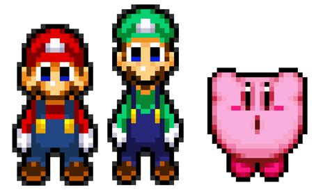 famous characters in pixel art mario and luigi mario luigi and kirby color pallete in my series by