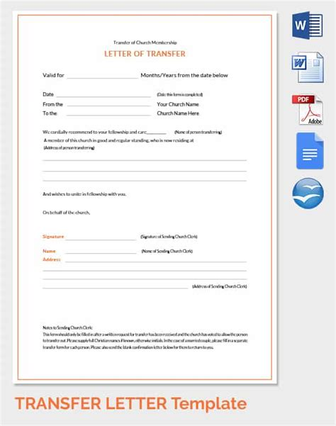 Transfer Letter Company church membership transfer letter template letter