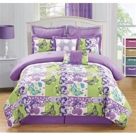 purple green comforter sets 8 piece butterfly purple green comforter set walmart com