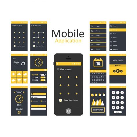 Mobile Applications Templates Vector Free Download Application Ui Templates