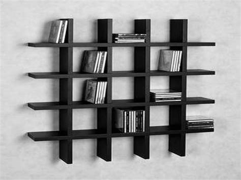 crossed bars of black wooden bookcase many shelves