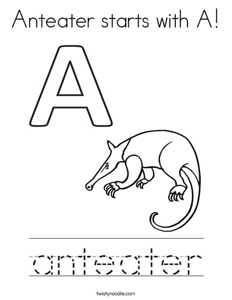 Anteater Coloring Page by Anteater Starts With A Coloring Page Twisty Noodle