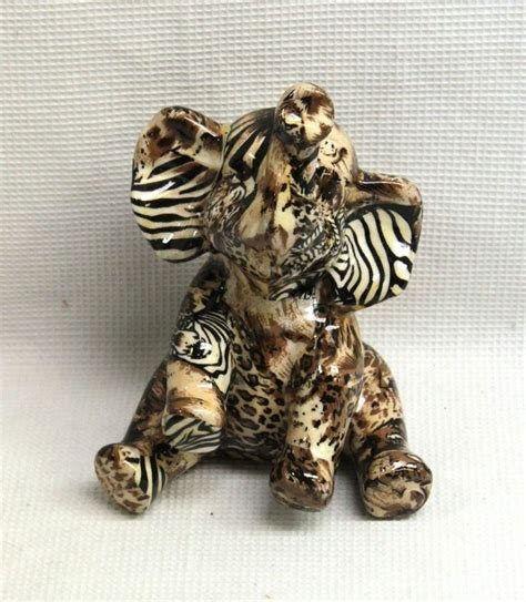 animal figurines home decor la vie safari patchwork baby elephant figurine home decor
