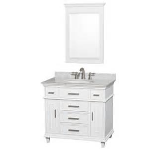 Home Depot Bathroom Vanities 36 Wyndham Collection Berkeley 36 In Vanity In White With Marble Vanity Top In Carrara White Oval