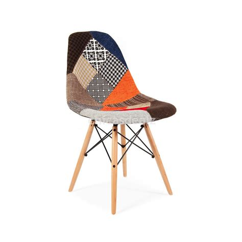 Patchwork Dining Chairs Set Of 4 Modern Eames Dsw Style Patchwork Upholstered Accent Side Chairs Dining Other