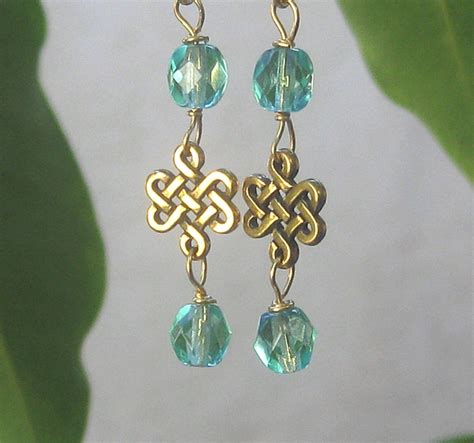Hurian Blue Knot by Celtic Knot Earrings Aquamarine Glass March Birthstone