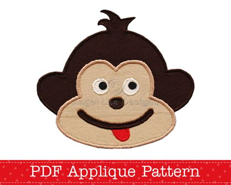 monkey applique cheeky monkey applique template animal diy pdf pattern by