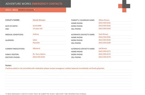 emergency contact template search results for employee emergency contact form