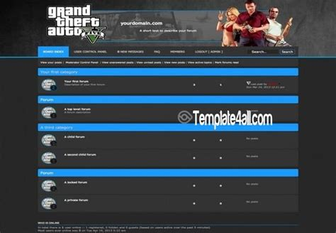 dark blue black gta phpbb style theme download