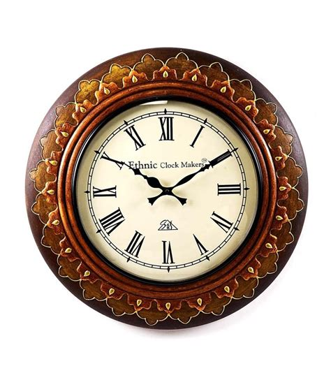 Handcrafted Wall Clocks - ethnic clock makers textured wooden handcrafted wall clock