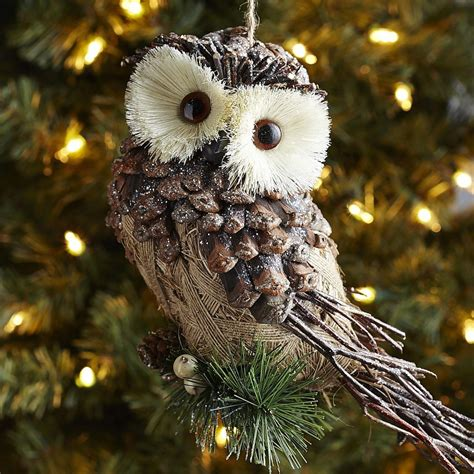 owl creations from pine cones and fluff frosted pinecone owl ornament pier 1 imports natal pinecone owls owl
