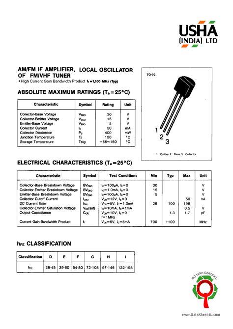 transistor c9014 datasheet pdf c9018 datasheet c9018 pdf 2sc9018 datasheet4u