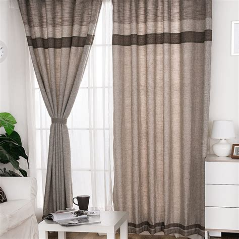 simple curtains simple style coffee linen cotton privacy living room curtain