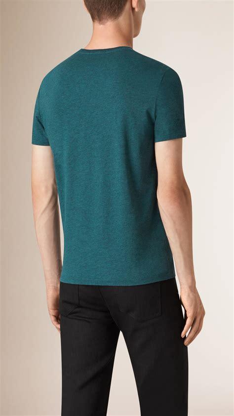 teal color shirt burberry liquid soft cotton t shirt teal melange in
