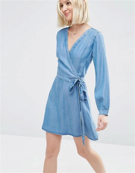 asos asos denim soft wrap mini dress in mid wash