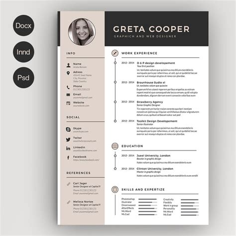 clean cv resume ii resume templates on creative market