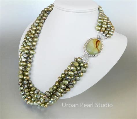 multi strand pearl necklace green pearl necklace