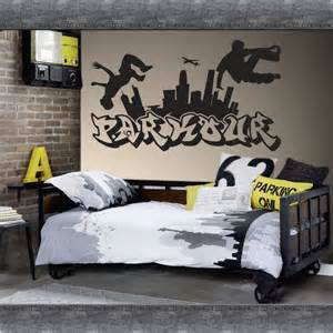 Personalised Name Wall Stickers For Kids parkour free running jumping urban style skate graffiti