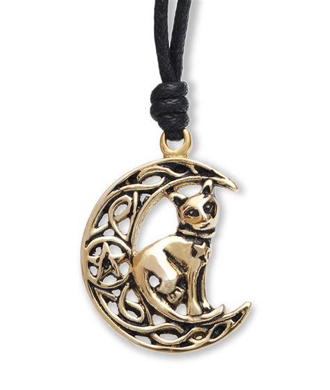Moon And Cat Necklace caltic moon cat handmade brass necklace pendant jewelry ebay
