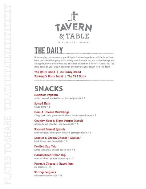 tavern and table mt pleasant tavern table menu menu for tavern table mt pleasant