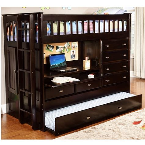 twin size loft bed with desk solid wood twin size loft bed with desk in dark cappuccino