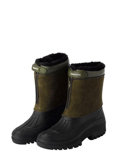 fleece lined mucker boots mens zip up stable