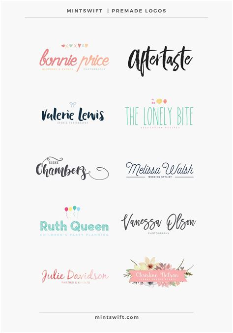 10 New Premade Logos Now In Mintswift Shop Mintswift Premade Logo Templates