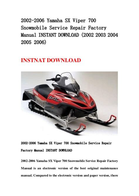 2006 2012 yamaha vector rs900 and rs venture rst900 2002 2006 yamaha sx viper 700 snowmobile service repair