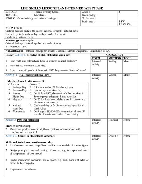 biography lesson plan grade 4 life skills lesson plan intermediate phas gr6