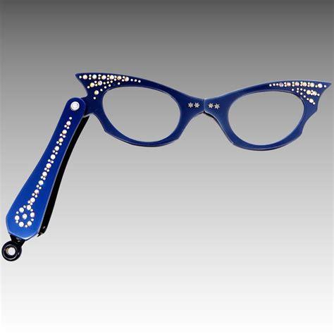 Mur 10 Blue vintage blue rhinestone folding cat s eye glasses mur s jewelry ruby