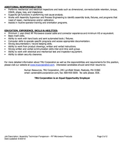 assembly technician job description resume free resume