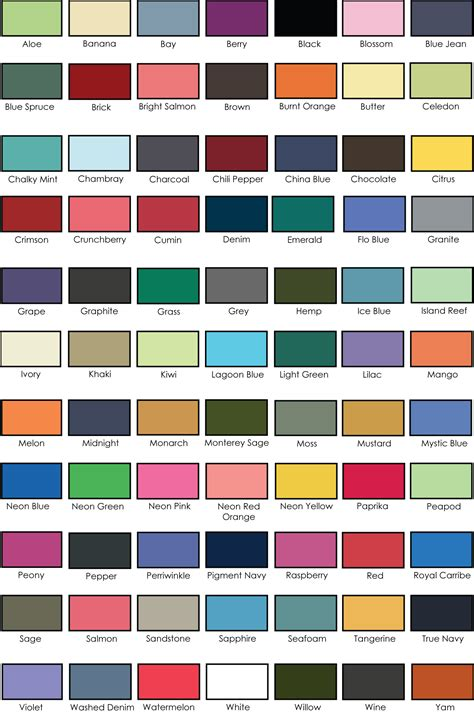 comfort colors color chart comfort colors pigment dyed pocket adver t screen